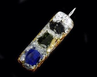 Azurite Orgonite Pendant with Moldavite, Elite Shungite, Arkansas Crystals, Phenacite, Petalite, Tourmaline, Rhodizite, Selenite  (j17)