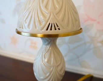 Rare Lenox Porcelain Boudoir Lamp Night Light Reticulated Pierced Shade