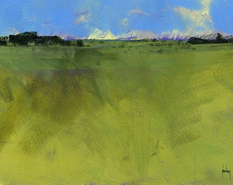 Original minimalist abstract landscape painting - Muddy fields