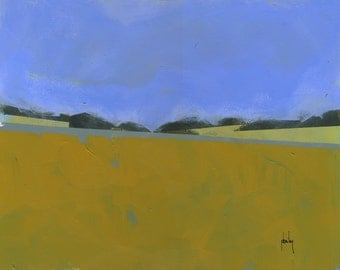Original abstract minimalist landscape painting - Distant flax