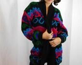 80s / 90s Oversized Neon Swirl Sweater Duster