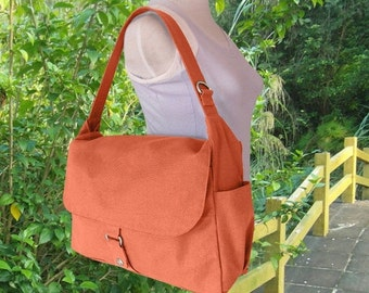 Holiday On Sale 10% off orange school bag, travel bag, crossbody bag, messenger bag, hand bag for men and women