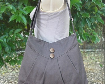 Gray purse / cross body bag / messenger bag / shoulder bag / diaper bag  - cotton canvas