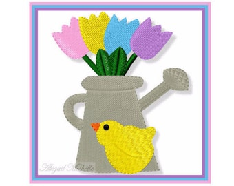 Watering Can Chick - 4x4, Machine Embroidery