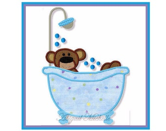 Bathtub Bear Applique - 3 Sizes, Machine Embroidery