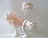 Vintage Table Candelabra, Shell Candle Holders, Heavy Wrought Iron, Distressed White