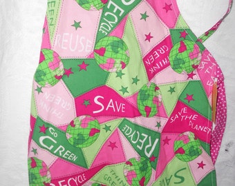 Girl Power OR Save the Earth Child Chef Apron - Fully Lined - Adjustable Strap - Ready to Ship