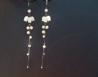 Extra Long Pearl Earrings with Sterling Silver and Vintage Bellflowers - Summer Trends, Boho Bride Jewelry