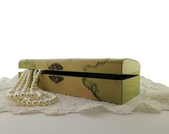 Antique Celluloid Victorian Box Ornate Raised Roses And Chrysanthemums Decoration Holds Gloves Trinkets Or Jewelry