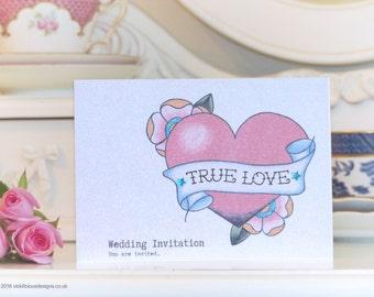 TRUE LOVE vintage tattoo heart handmade wedding invitations