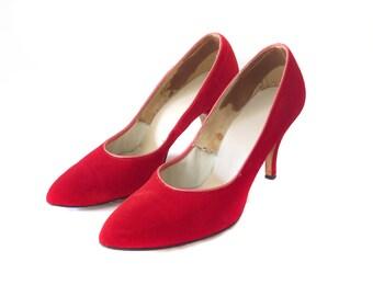 1950s Red Velvet Pumps, Size 8-8.5