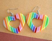 Vintage RAINBOW HEART Earrings...retro. bright. glam. kitsch. pierced ears. studs. rainbow jewelry. costume jewelry. fun. striped. mod girl