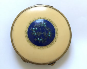 1930s French Celluloid Powder Compact with Blue  Bird Design