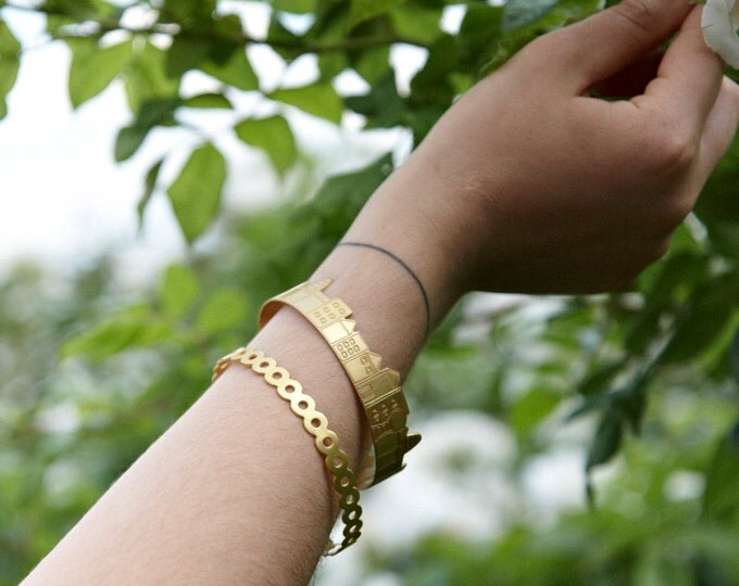Little Big Town Bangle Bracelet Gold-plated Bronze Minimal Countryside Nature Fresh Urban Design Statement Bangle