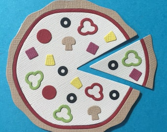 Pizza and Slice Die Cuts Embellishments Scrapbooking Cards and Paper Crafts Fully Assembled Topping Fast Food
