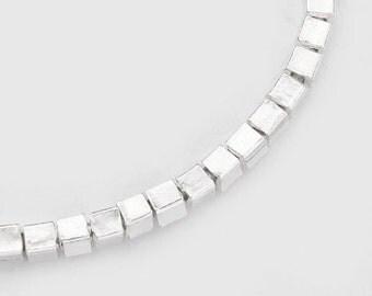 "50 of Karen Hill Tribe Silver Cube Beads 2 mm.4.5""  :ka3214"