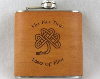 20% OFF SALE Irish Flask - Flask with Hand Dyed Engraved Leather Wrap - Fireman