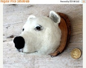 ON SALE needlefelted miniature  polar bearhead style faux taxidermy by feltfactory