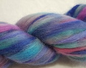 Hand Painted 100% Alpaca Roving - 4 ounces - Dyed in shades of Purple, Blue and Turquoise