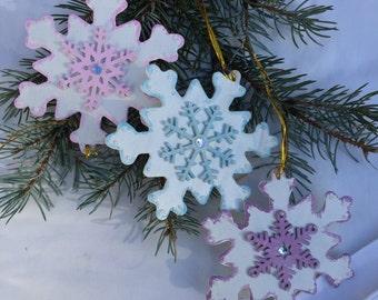 Set of 3 Snowflakes Ornaments