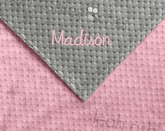 Baby Blanket - Gray MINKY Dot, Pink MINKY Dot - Emery - BB1
