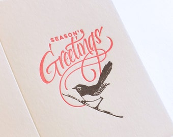 Season's Greetings holiday card hand lettered Letterpress Christmas card Australian willie wagtail wren bird made in Australia