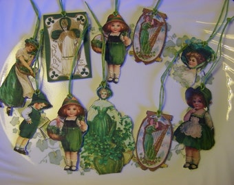 10 Primitive St Patricks Day Bowl Fillers Ornies or Hang Tags Handmade