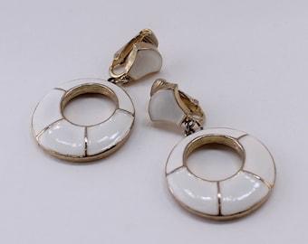 SALE 10 PERCENT Off Vintage Signed DG Goldtone Ivory Off White Enamel Circular Geometric Door Knocker Nautical Clip On Dangle Hoop Earrings