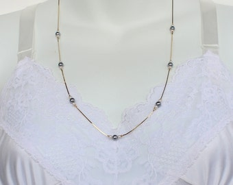 Vintage 1986 Signed Avon Faux Pearl Whisper Ivory Cream Gray Goldtone Beaded Gold Tone Chain Necklace Original Box NIB