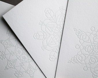 Three Subtle Snowflake Letterpress Cards