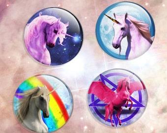Unicorn pin button badge- pastel goth pin button badge - unicorn with rainbow pentagram moon - pegasus pin badge - xmas stocking filler