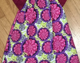 Girls Dress, SALE 6-9 Months; Pink and Purple Peasant Dress - Sample Sale