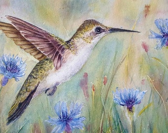 Original watercolor of female ruby throated hummingbird, 11x15