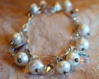 White Pearl Bracelet, Freshwater Pearls, Sterling Silver Bracelet
