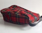 1960s Red PLAID Cosmetics Bag // Men's Travel Case // Shoe Carrier // Dop Kit