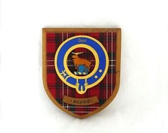 ON SALE Vintage Scotland clan Scott family crest, Scott wall plaque, Scott shield, Scott tartan
