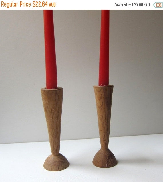 ON SALE Vintage pair handcrafted folk art forest oak wood candle holders