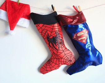 Christmas Stockings set:  Superman and Spiderman- Boys gift-Teenager gift