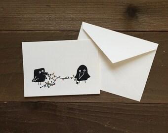 Christmas ravens greeting card