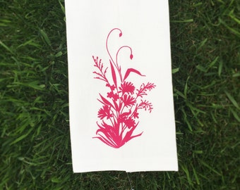 Tea Towel, Linen Dish Towel, Pink Rustic Modern Alaska Wildflower Flower Bouquet Design, Screen Printed Kitchen Towel