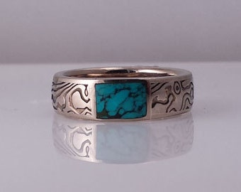 Unique 14k White Gold and Sterling Mokume Gane with Turqouise inlay ring