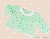 Hand-knitted baby sweater, knitted baby cardigan, green baby sweater,kids sweater,  READY TO SHIP