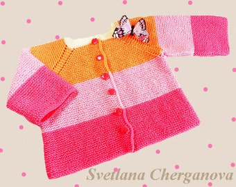 Knitted baby sweater, wool baby sweater, hand knitting baby catdiganq baby girl clothes, READY TO SHIP