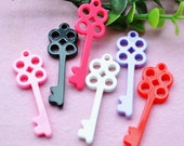 10 pcs of Resin The Key Charms Cabochon 54x19mm Mix 6colors