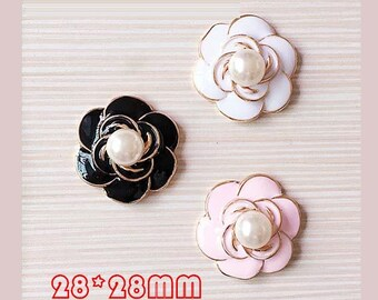 3pcs diy pearl alloy camellia flower kawaii cabochon 28x28mm flatback pink/black/white
