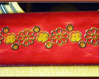 FLOWER GEO Design • A Beautifully Hand Dyed, Hand Crafted Leather Guitar Strap