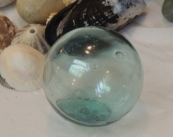 Vintage Japanese Glass Fishing Float.. Small 2.5 Inch.. Makers Mark & Bubbles (#9)