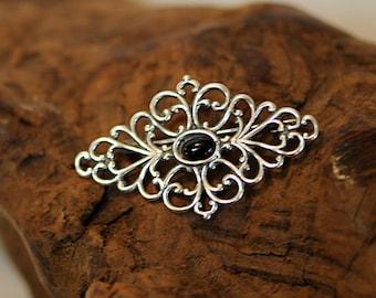 Vintage Filigree Sterling Silver Black Onyx Brooch Pin (#67)