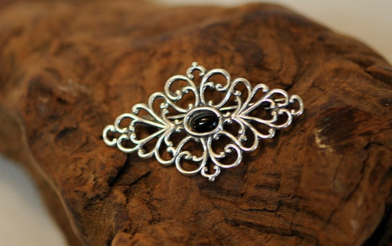 Vintage Filigree Sterling Silver Black Onyx Brooch Pin (#67)