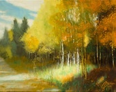 Original oil painting, Aspen Autumn III, impressionism landscape of lovely seasonal Aspen trees
